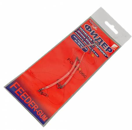 Оснастка фидерная salmo feeder-gum красная нить 40 см 2 шт